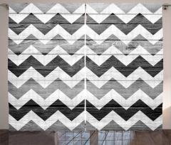 Siyah Beyaz Zikzak Temalı Fon Perde Geometrik