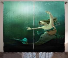 Yeşil Deniz Kızı Desenli Fon Perde 3D Etkili