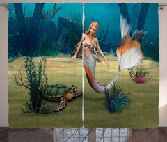 Deniz Kızı ve Kaplumbağa Desenli Fon Perde 3D