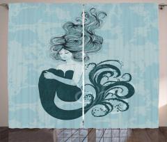 Uyuyan Deniz Kızı Desenli Fon Perde Masal Temalı