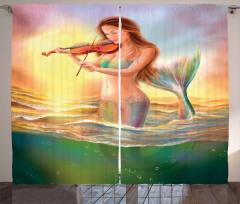 Keman Çalan Deniz Kızı Desenli Fon Perde Fantastik