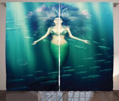 Mor Saçlı Deniz Kızı Desenli Fon Perde Balıklı