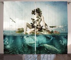 Deniz Kızı ve Kuş Desenli Fon Perde Balıklar