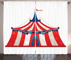 Sirk Çadırı Fon Perde Kırmızı ve Beyaz