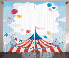 Sirk ve Uçan Balonlar Desenli Fon Perde Sevimli