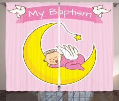 Ayın Üzerinde Uyuyan Bebek Fon Perde Vaftiz Temalı