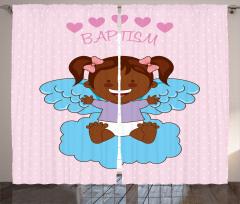 Melek Kız Bebek ve Bulut Fon Perde Vaftiz Temalı