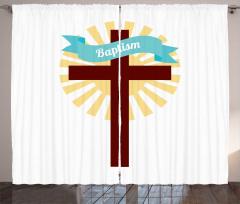 Kutsal Haç ve Vaftiz Desenli Fon Perde Beyaz Sarı