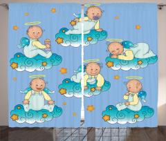 Bulutlarda Oynayan Tatlı Bebek Melekler Fon Perde