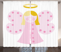 Kelebek Kanatlı Melek Kız Desenli Fon Perde Pembe