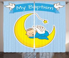 Ayın Üzerinde Bebek Desenli Fon Perde Vaftiz