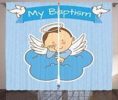 Çocuk Melek ve Bulut Desenli Fon Perde Mavi