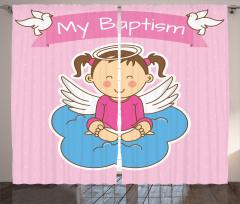 Kız Bebek Fon Perde Sevimli Vaftiz Temalı