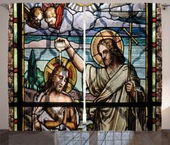İsa ve Aziz John Vitrayı Desenli Fon Perde
