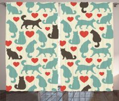 Romantik Kediler Temalı Fon Perde Aşk Kırmızı Bej