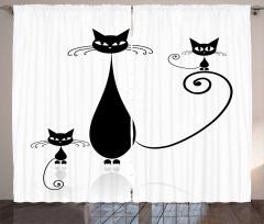 Sevimli Kedi Ailesi Temalı Fon Perde Siyah Beyaz