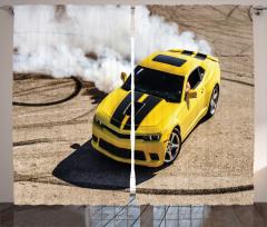 Sarı Yarış Arabası Temalı Fon Perde Motor Sporları
