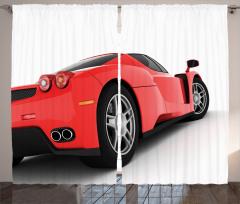 Kırmızı Yarış Arabası Temalı Fon Perde Spor