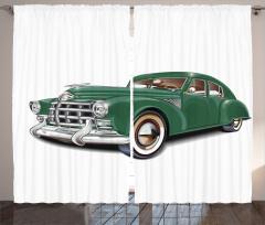 Nostaljik Yeşil Araba Desenli Fon Perde Klasik