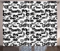 Siyah Beyaz Motosiklet Desenli Fon Perde Retro
