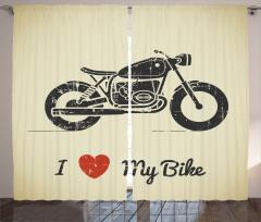 Motosikletimi Seviyorum Fon Perde Kalp Nostaljik