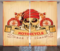 Kuru Kafa ve Motosiklet Desenli Fon Perde Kırmızı