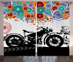 Retro Motosiklet Desenli Fon Perde Rengarenk
