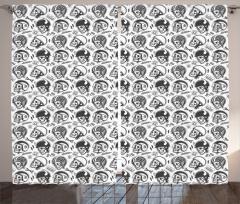 Kasklı Kuru Kafa Desenli Fon Perde Siyah Beyaz