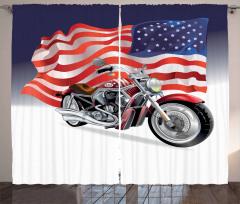 Motosiklet ve ABD Bayrağı Desenli Fon Perde