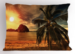 Plajda Gün Batımı Yastık Kılıfı Deniz Güneş Dağ