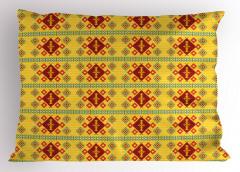 Sarı Geometrik Desenli Yastık Kılıfı Kilim Etkili