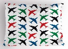 Rengarenk Uçaklar Yastık Kılıfı Beyaz Fonlu Şık