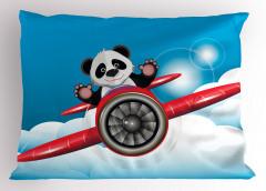 Kırmızı Uçaktaki Panda Yastık Kılıfı Mavi Gökyüzü