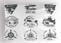 Pervaneli Uçak Desenli Yastık Kılıfı Nostaljik Gri