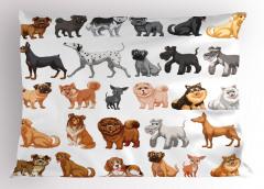 Gri ve Kahve Köpekler Yastık Kılıfı Dekoratif Trend