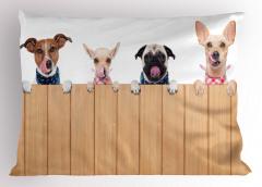 Çit Ardındaki Köpekler Yastık Kılıfı Bej Kahverengi