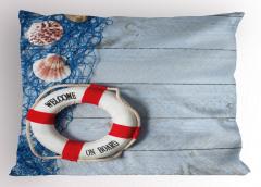 Deniz Kabuğu ve Can Simidi Temalı Yastık Kılıfı Mavi
