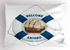 Gemi ve Can Simidi Temalı Yastık Kılıfı Beyaz