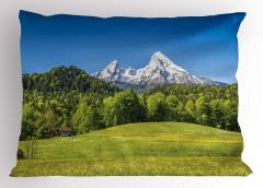 Dağ Köyü ve Karlı Dağ Yastık Kılıfı Kar Ağaç