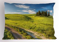 Huzurlu İtalya Manzarası Yastık Kılıfı Ağaçlar Yeşil