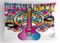 Aşk Barış ve Müzik Yastık Kılıfı Rengarenk