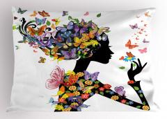 Kelebekli Kız Desenli Yastık Kılıfı Rengarenk Trend