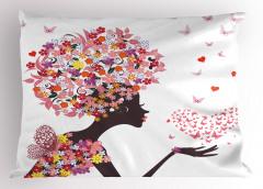 Pembe Kelebekli Kız Yastık Kılıfı Kalpli Trend
