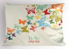 Rengarenk Kelebek Desenli Yastık Kılıfı Hoş Geldin Yaz