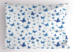 Mavi Beyaz Kelebek Desenli Yastık Kılıfı Beyaz Fonlu