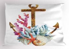 Çapa ve Mercan Desenli Yastık Kılıfı Sulu Boya Etkili