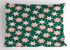 Poker Temalı Yastık Kılıfı Kuru Kafalı Yeşil Daire