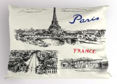 Paris Temalı Yastık Kılıfı Elle Çizim Şık Tasarım