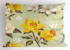 Bahar Çiçekleri Desenli Yastık Kılıfı Çeyizlik Trend