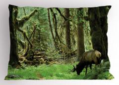 Yaban Hayatı Temalı Yastık Kılıfı Doğa Hayvan Ağaç